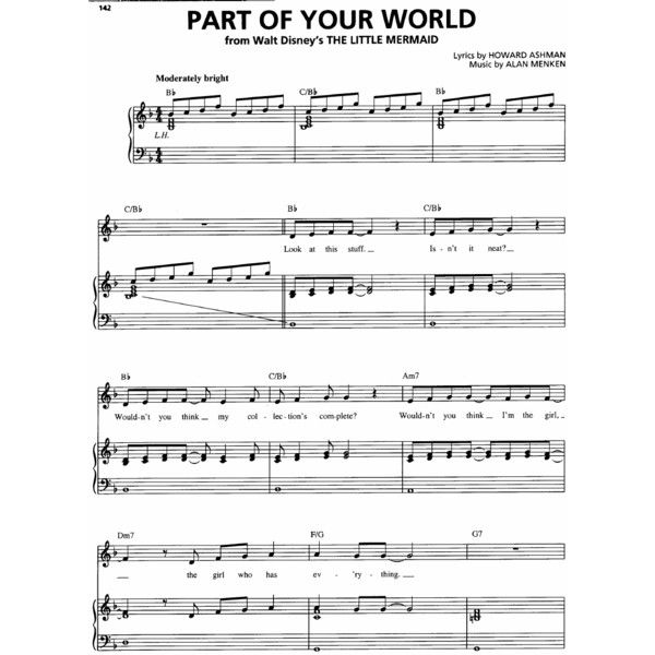 Disney The Little Mermaid Part Of Your World Piano Sheet Music