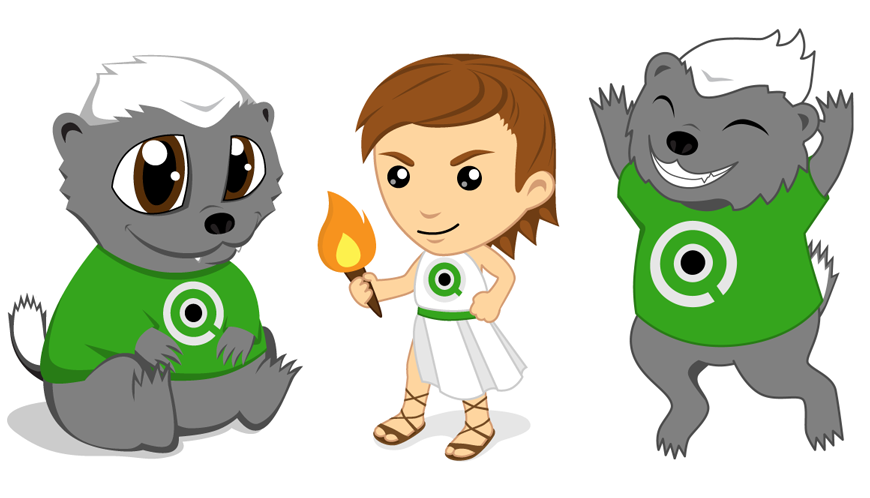 Cute QlikView mascots. Vector graphic.