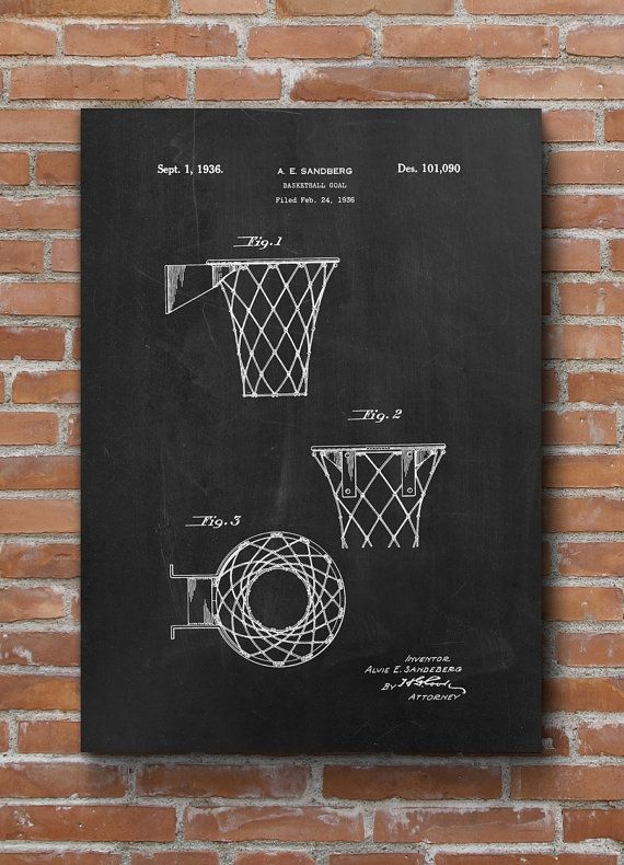 Basketball Goal Patent Print Basketball Coach Gift by dalumna
