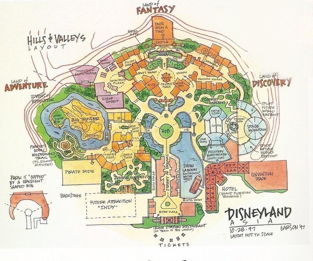 Early conceptual layout for Hong Kong Disneyland (dated 1997 ... on