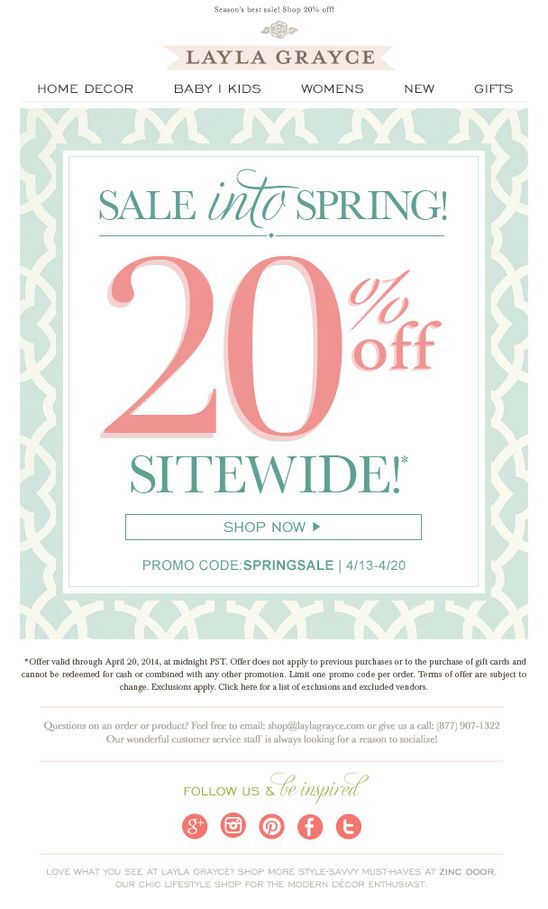20 Off Sitewide Thru 4 20 Exclusions Apply Shop The Spring