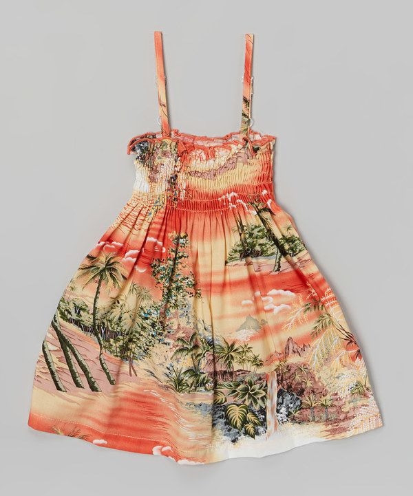 Look at this Robert J. Clancey Orange Tropic Island Shirred Dress - Infant & Toddler on #zulily today!