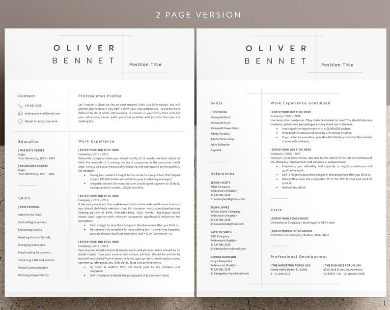 Minimalist Resume Template Cv Template 3 Page Resume Etsy Good Resume Examples Minimalist Resume Resume Examples