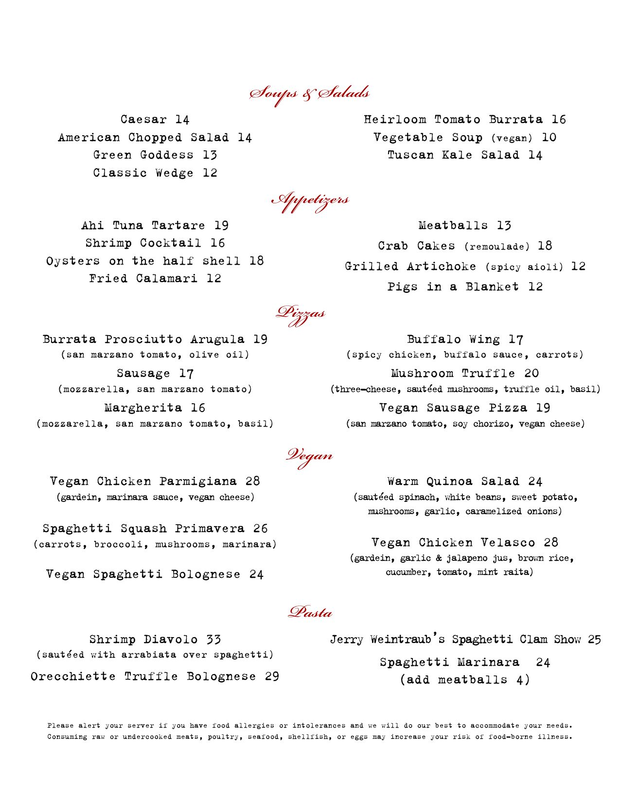 Craig\'s, West Hollywood, CA, dinner menu (page 1) http://craigs.la ...