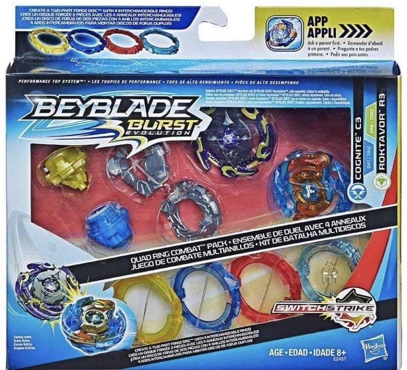 Beyblade Burst Evolution Quad Pack Hasbro Cognite C3 Vs Roktavor R3 Recolor Set Ebay Thanksgiving Crafts For Kids Kids Toy Gifts Beyblade Toys