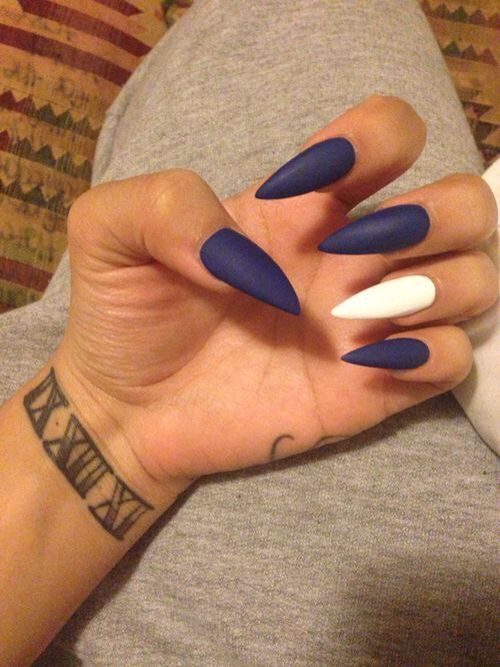 Blue and white nails | Awesome nails | Pinterest | White nails ...