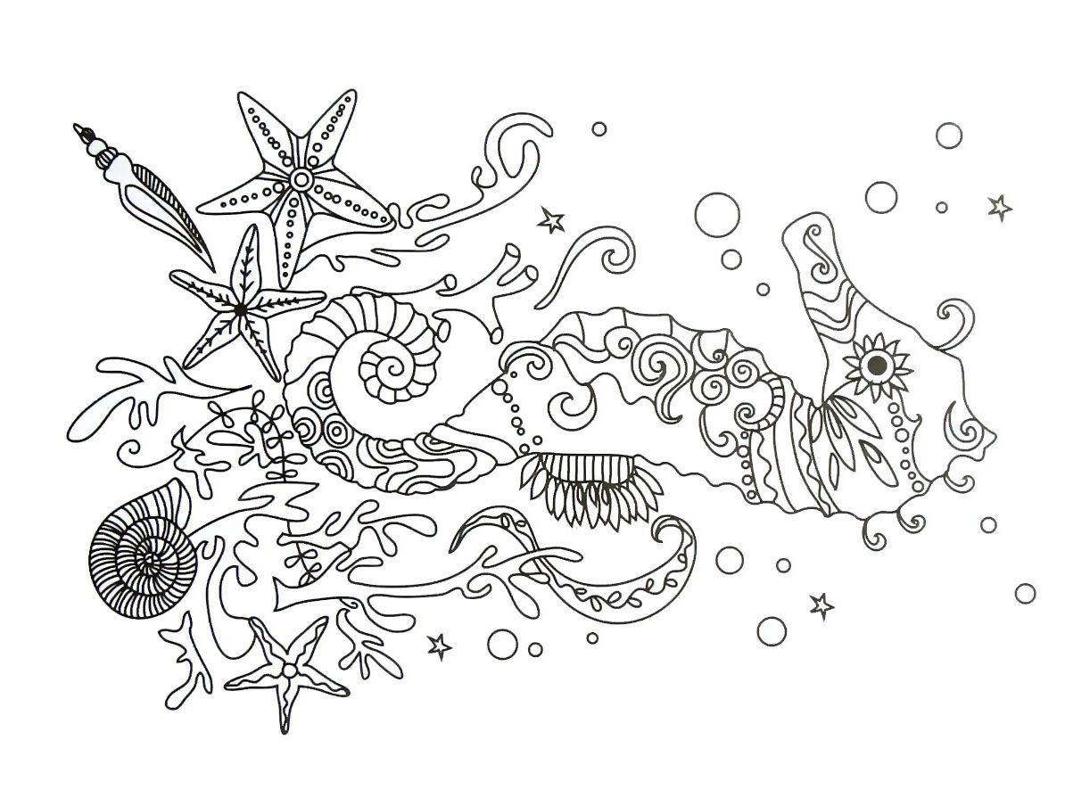 Fancy Seahorse Coloring Book Page