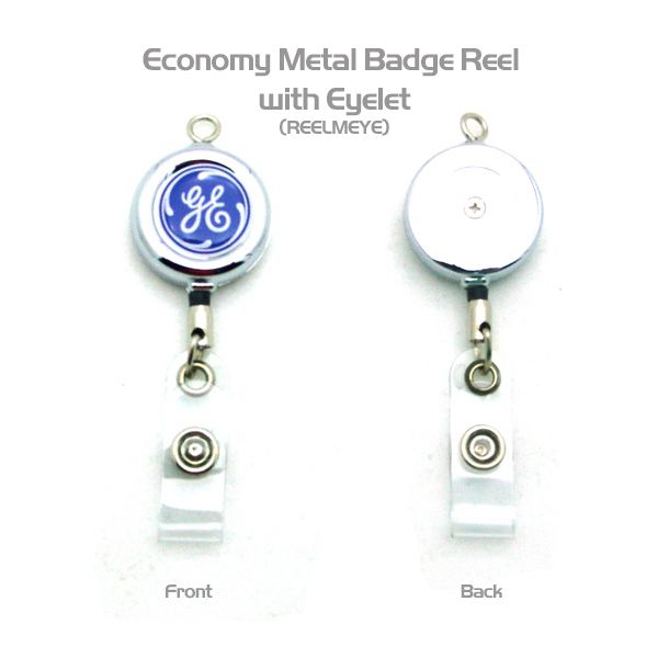 "This badge reel is constructed out of metal and designed with a sleek round shape. Includes a 30"" extendable cord and a snap strap ending. Perfect for attaching keys or ID cards that can be easily extended when required it features an eye top loop that can be attached to keyrings, bags, and other holders for convenience wherever you go. This badge reel comes with a four color process for a vivid representation of your company name and logo."