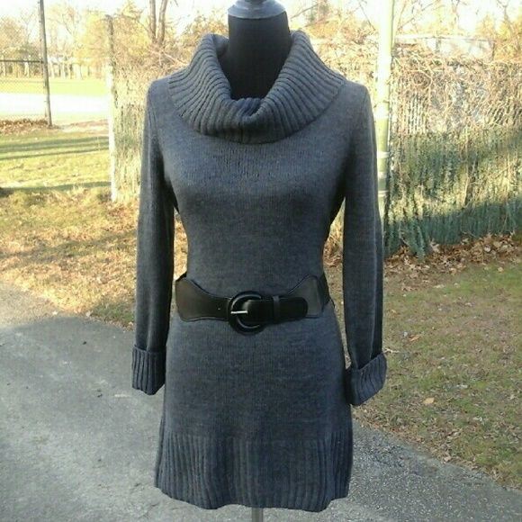 Charcoal Grey Cowl Neck Sweater Form fitting charcoal grey cowl ...
