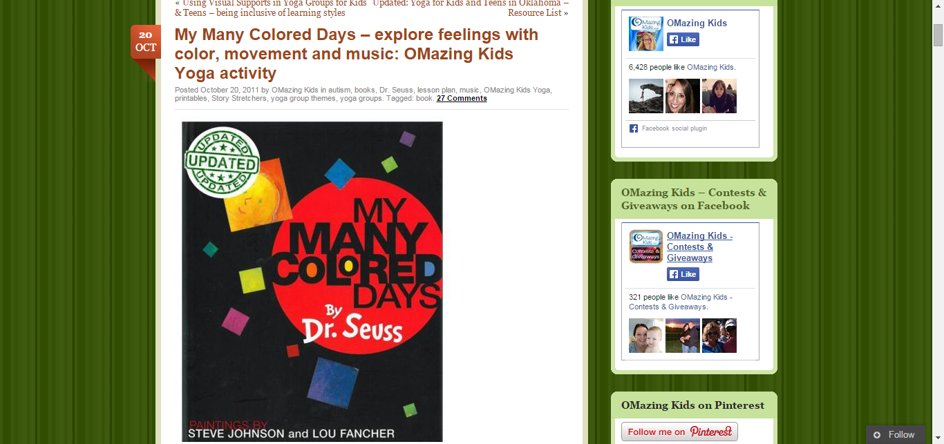 My Many Colored Days – explore feelings with color, movement and music: OMazing Kids Yoga activity | OMazing Kids