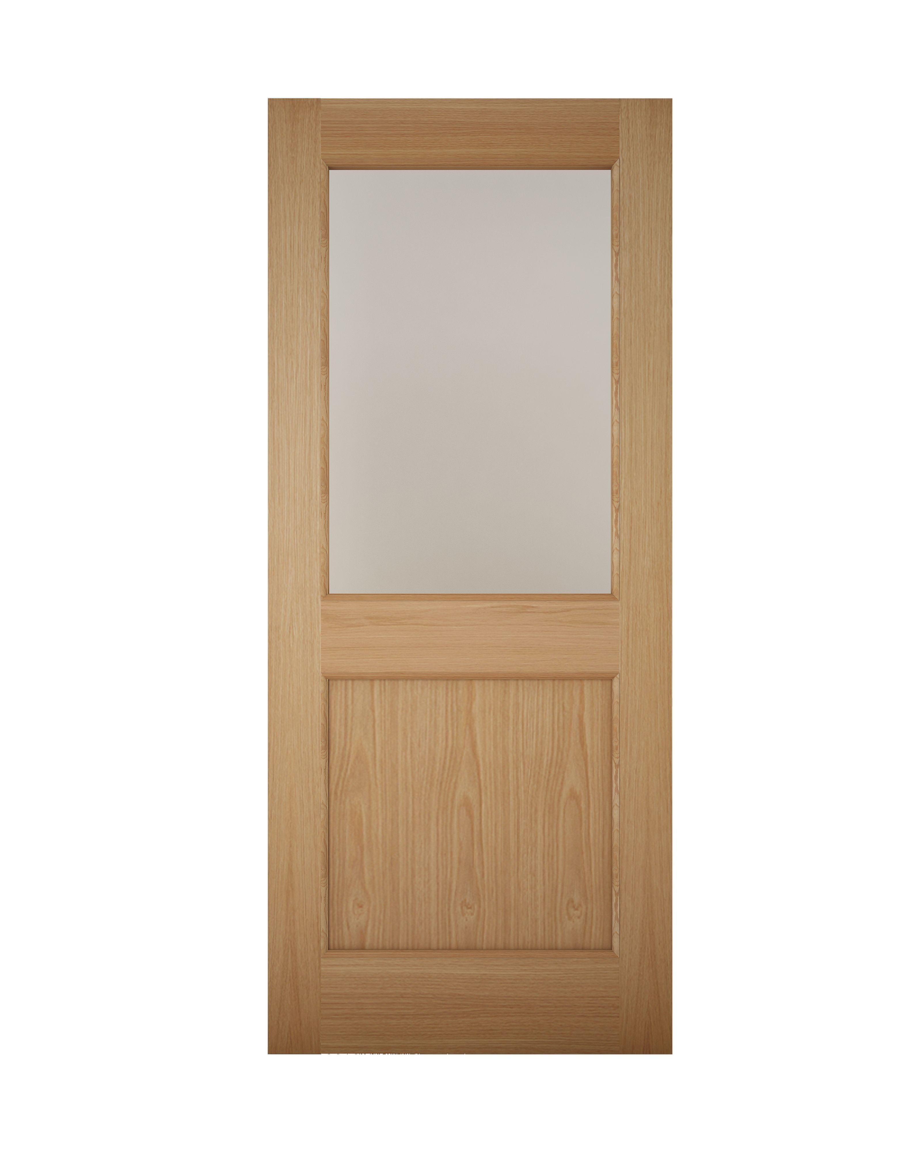 American White Oak Veneer Timber Glazed External Back Door H