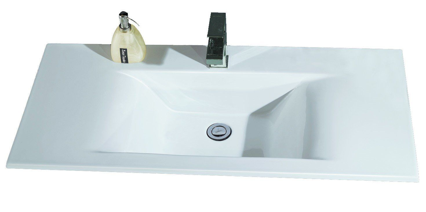Ceramic Rectangular Drop-In Bathroom Sink | Sinks, Contemporary ...