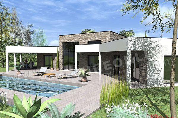 Plan de maison en v contemporaine amazone chambres module home en 2019 flat roof house - Plan maison toit plat gratuit ...