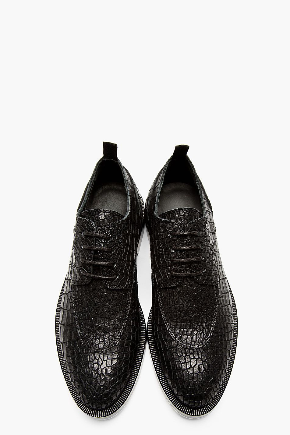 4968466b63 KRISVANASSCHE Black Etched Croc Pattern Oxford Shoes. Kris Van Assche ...
