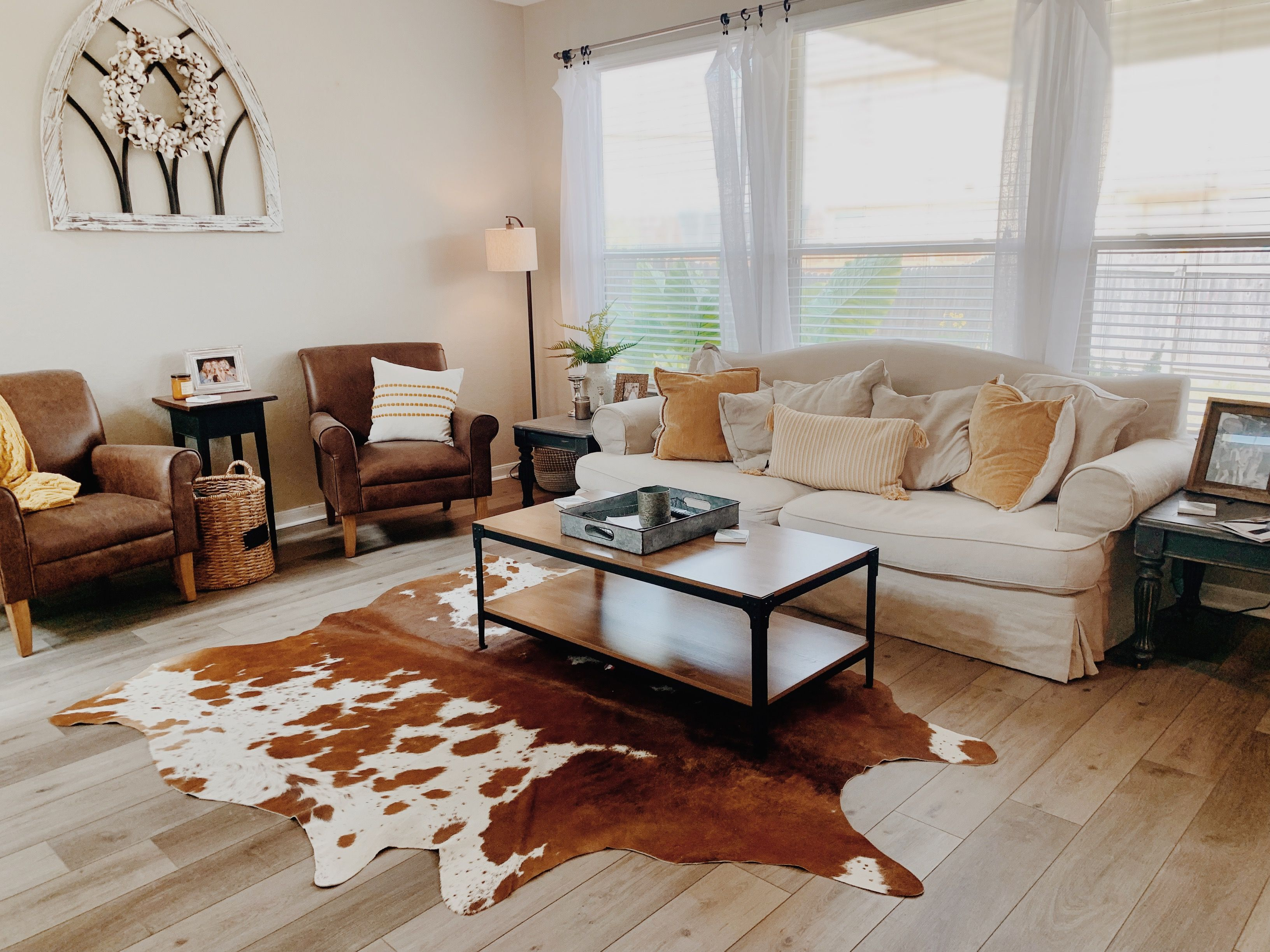 Modern Farmhouse With Mustard Accents Cowhide Rug Living Room Rugs In Living Room Cowhide Rug Living Room Modern