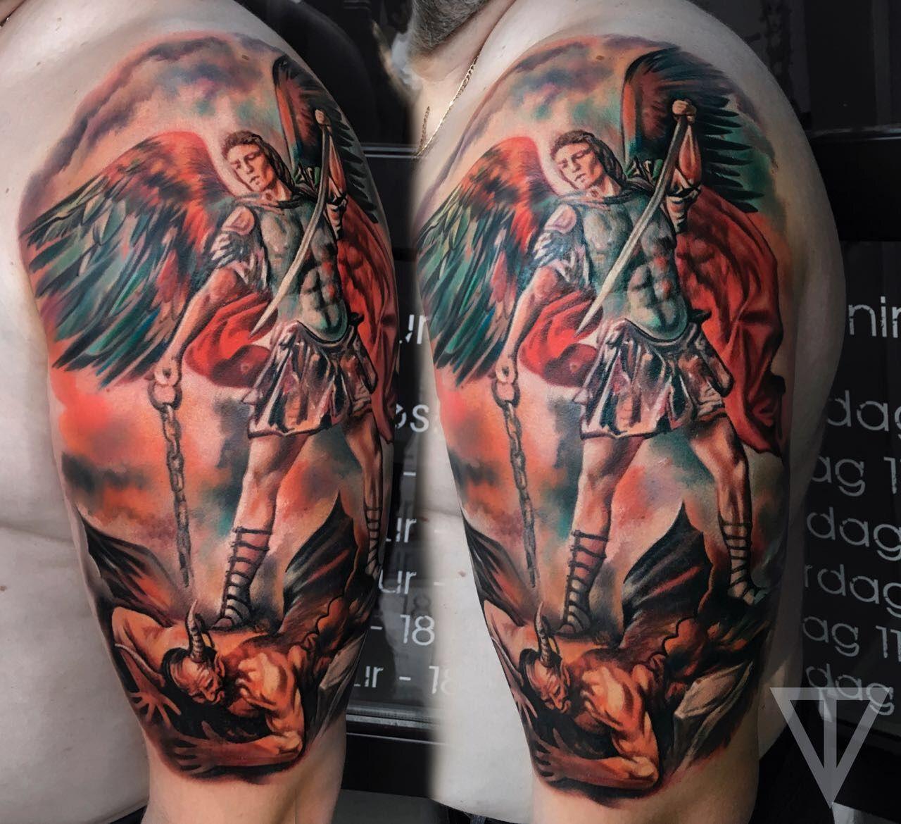 татуировка архангел михаил Artist Roman Vainer архангел архангел