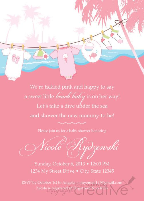 Baby Shower Invitation Pink Teal Beach Baby Printable Baby