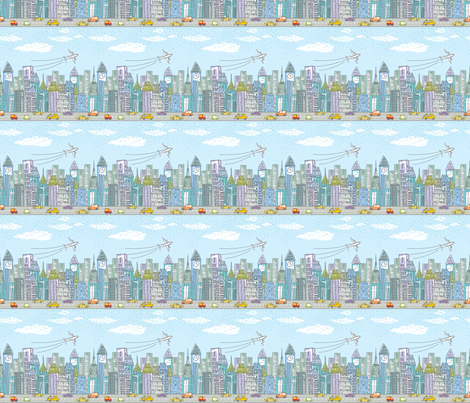 Colorful fabrics digitally printed by Spoonflower - Cute Cartoon City Rows - Color