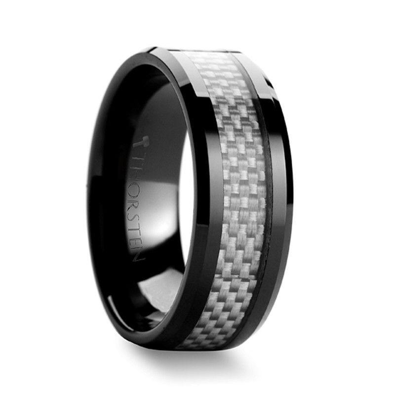 Black Ceramic Wedding Band Ring 8MM with Green Carbon Fiber Inlay Fashion Ring