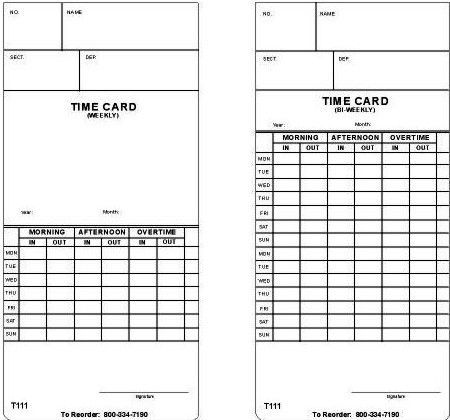 Acroprint T111 Time Cards Clocks - time card