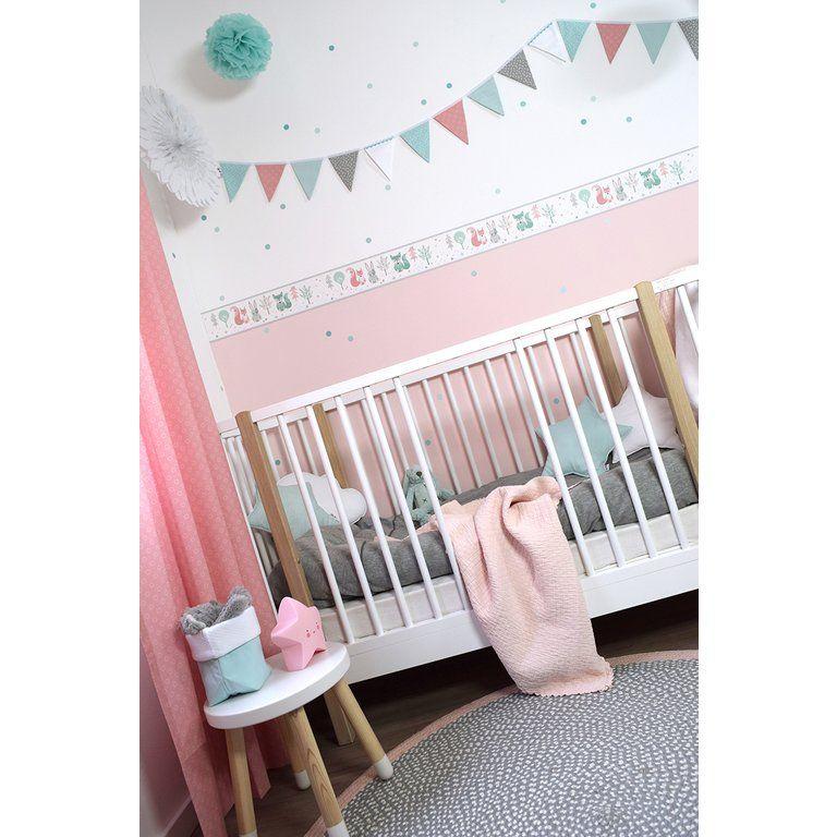 Dinki Balloon Kinderzimmer Bordure Waldtiere Rosa Mint Grau