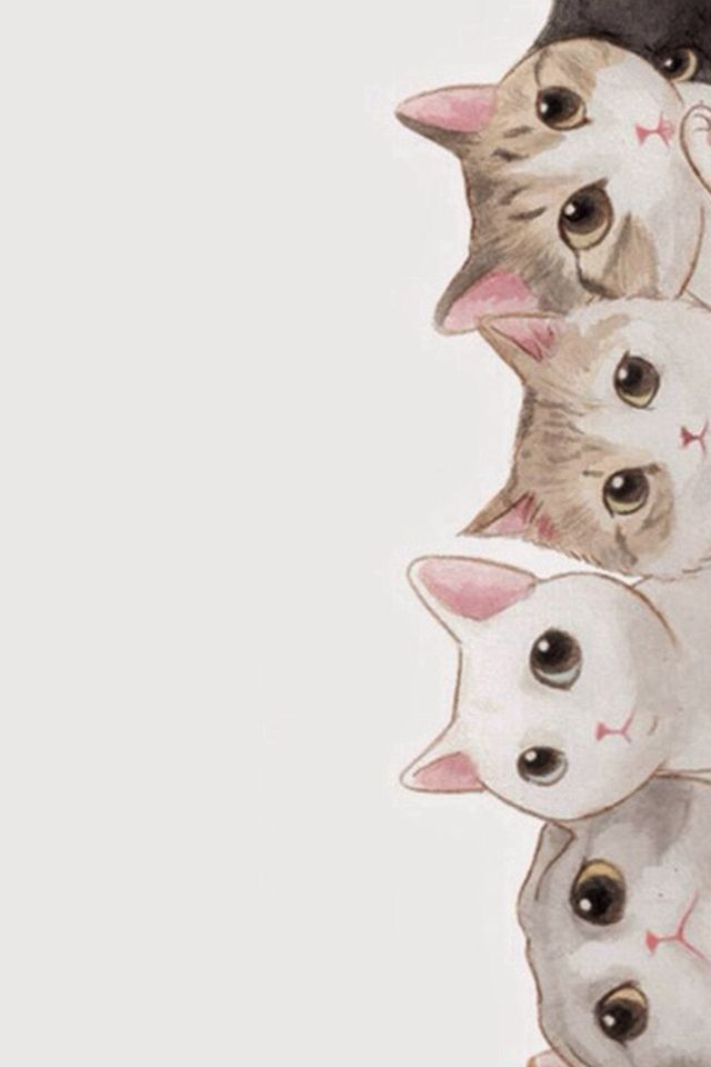 cute cats vertical aligned illustration iphone 4s wallpaper