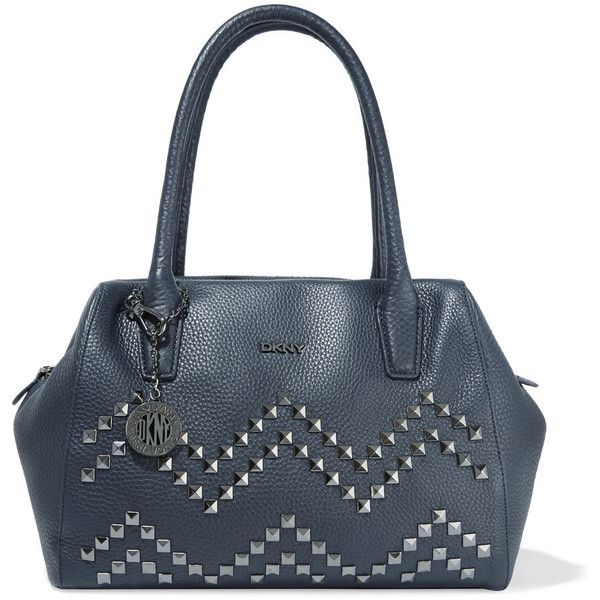 DKNY Studded textured-leather tote (2 155 SEK) ❤ liked on Polyvore featuring bags, handbags, tote bags, midnight blue, studded tote bag, handbags totes, blue handbags, zippered tote and dkny handbags