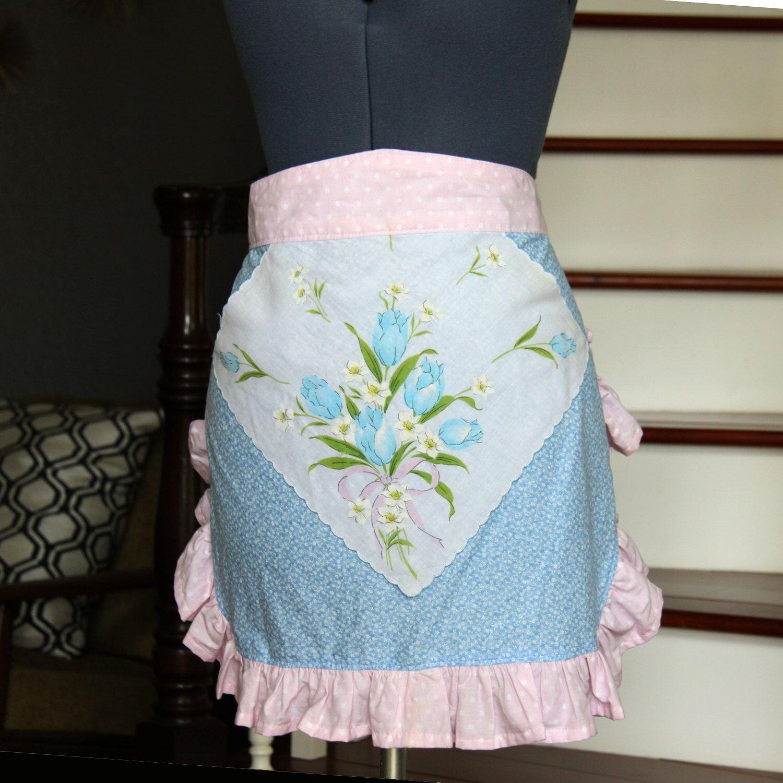 Handkerchief Half Apron, Aprons for What men, Blue Pink