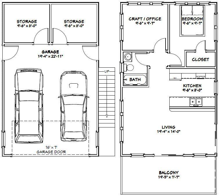 20x32 House 20x32h6u 808 Sq Ft Excellent Floor Plans Garage Floor Plans Carriage House Plans Garage Apartment Plans