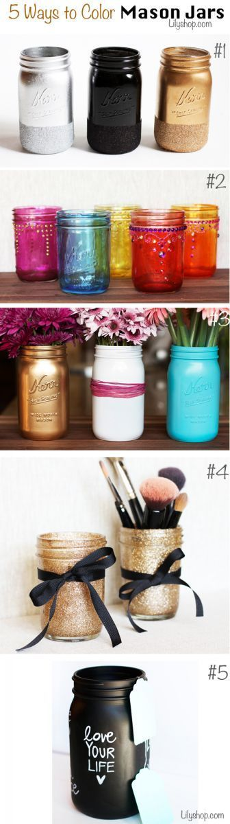 5 Ways To Color Mason Jars Via Lilyshop Blog By Jessie Jane.