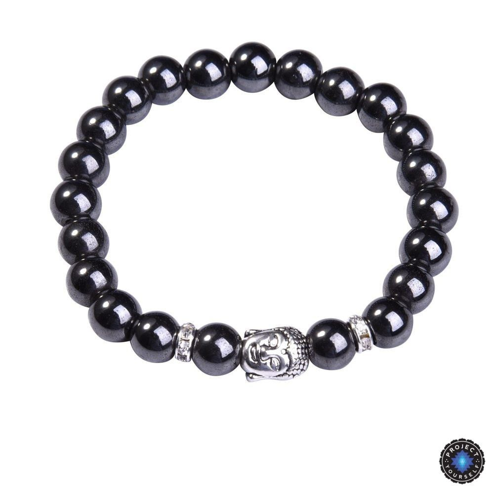 Lapis Lazuli Buddha Bracelet: Silver Plated with Crystal Stud Spacer