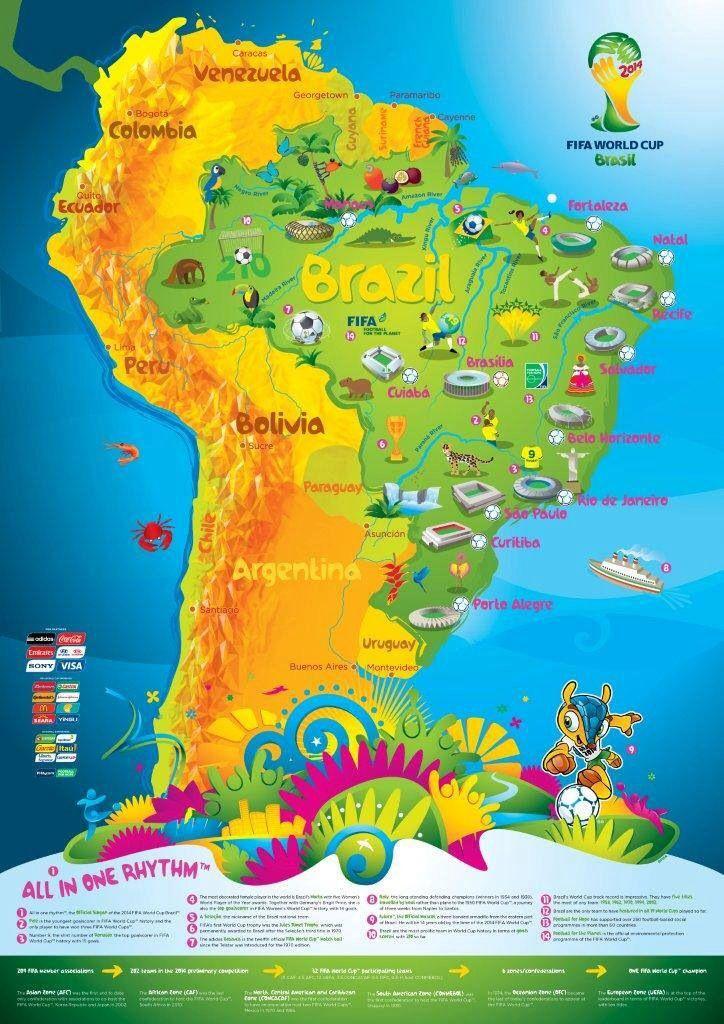 Brazil world cup map im a fan pinterest brazil world cup map gumiabroncs Gallery