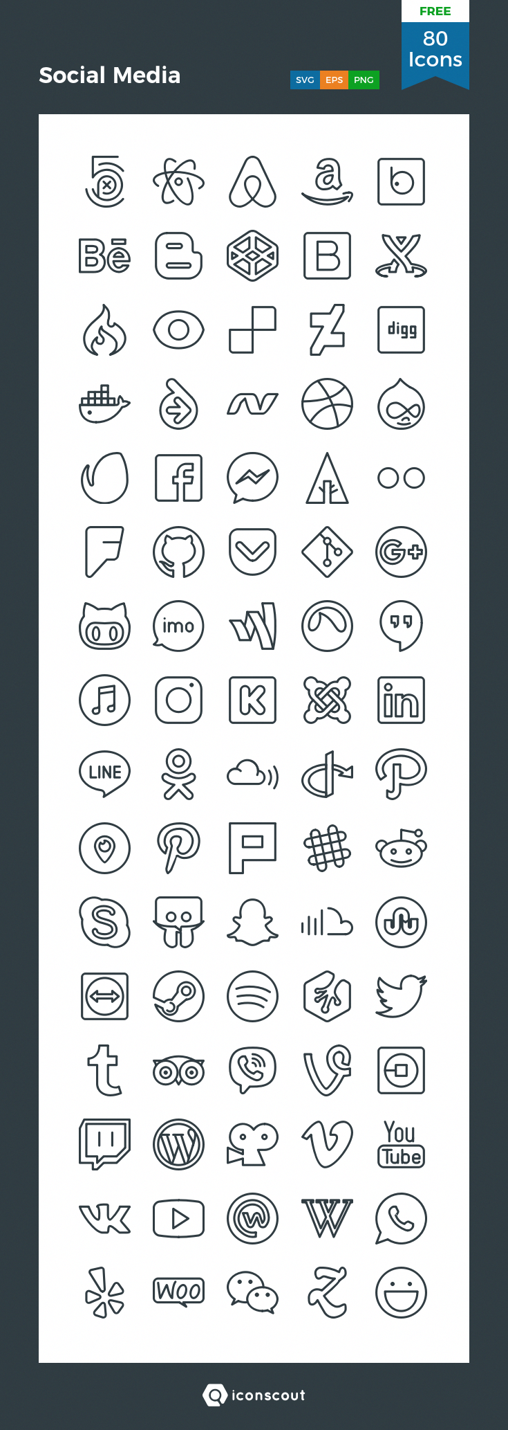 Social Media Free Icon Pack 80 Pixel Perfect Icons