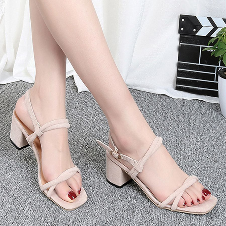 609259681ec1 Plain Chunky High Heeled Velvet Ankle Strap Peep Toe Date Office Sandals- Berrylook  sandalsonsale  cheapsandalsonline