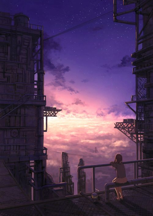 Girl Observing The Sky From A Building Illustration Digitalart