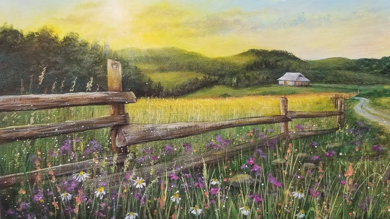 Country Fence Landscape Acrylic Painting Live Tutorial Youtube Landscape Painting Tutorial Landscape Landscape Paintings