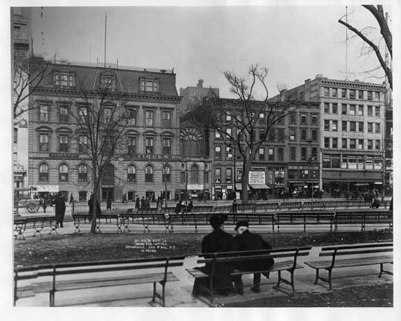 Taken in 1912, this is one of our earliest photos of the park. It shows West 42nd Street between Fifth and Sixth Avenues, about where the W.R. Grace building is now, and a zillion benches lining paths inside the park. All of those buildings have been razed and replaced, and in many cases, their replacements replaced.