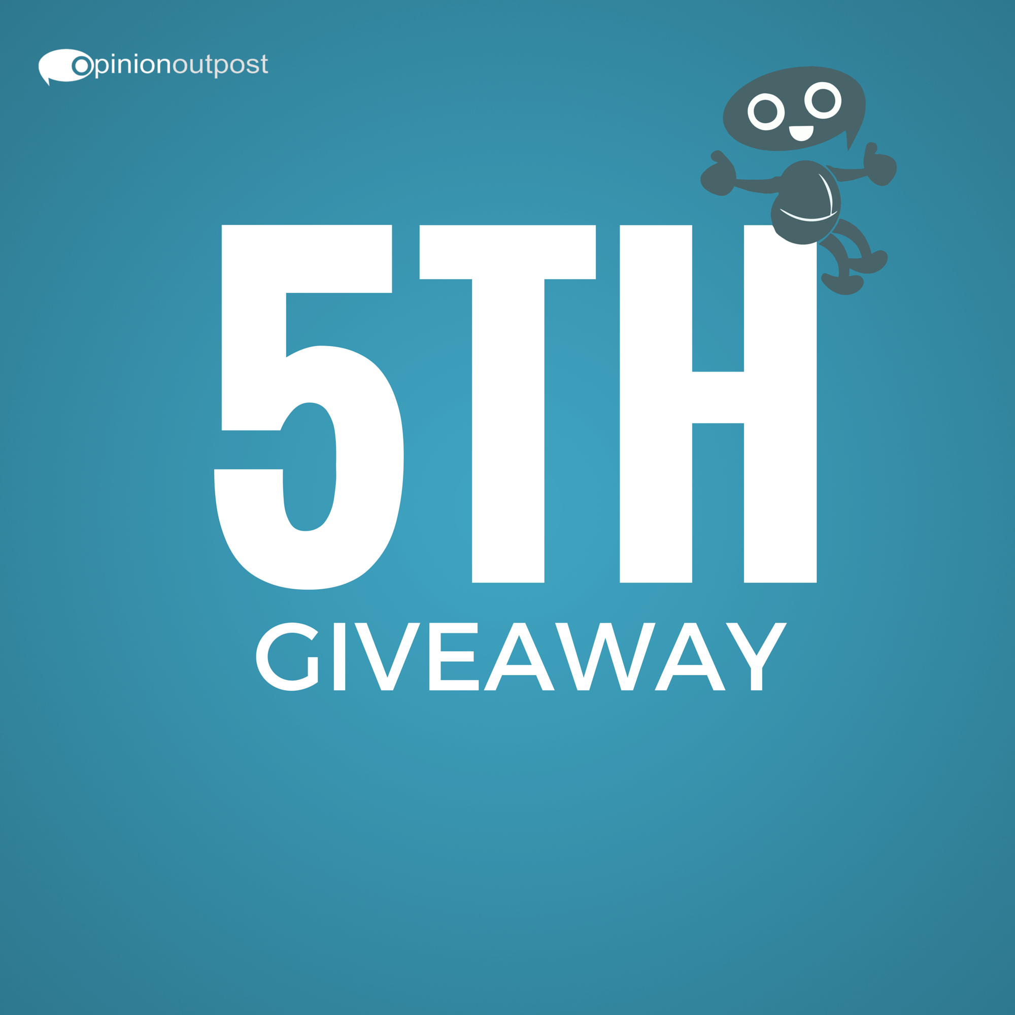 Last one this week is EASY! Please check our Facebook page. You have 11:59 pm EST tonight to enter. Winner will be announced Monday. For more information click on the image.Thanks for participating in the first week of the Opinion Outpost #OODollarADayGiveaway! Happy Weekend!