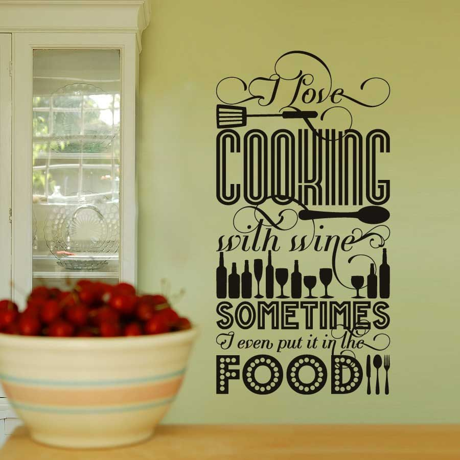 I Love Cooking with Wine - Vinyl Wall Decal Sticker Art - Large ...