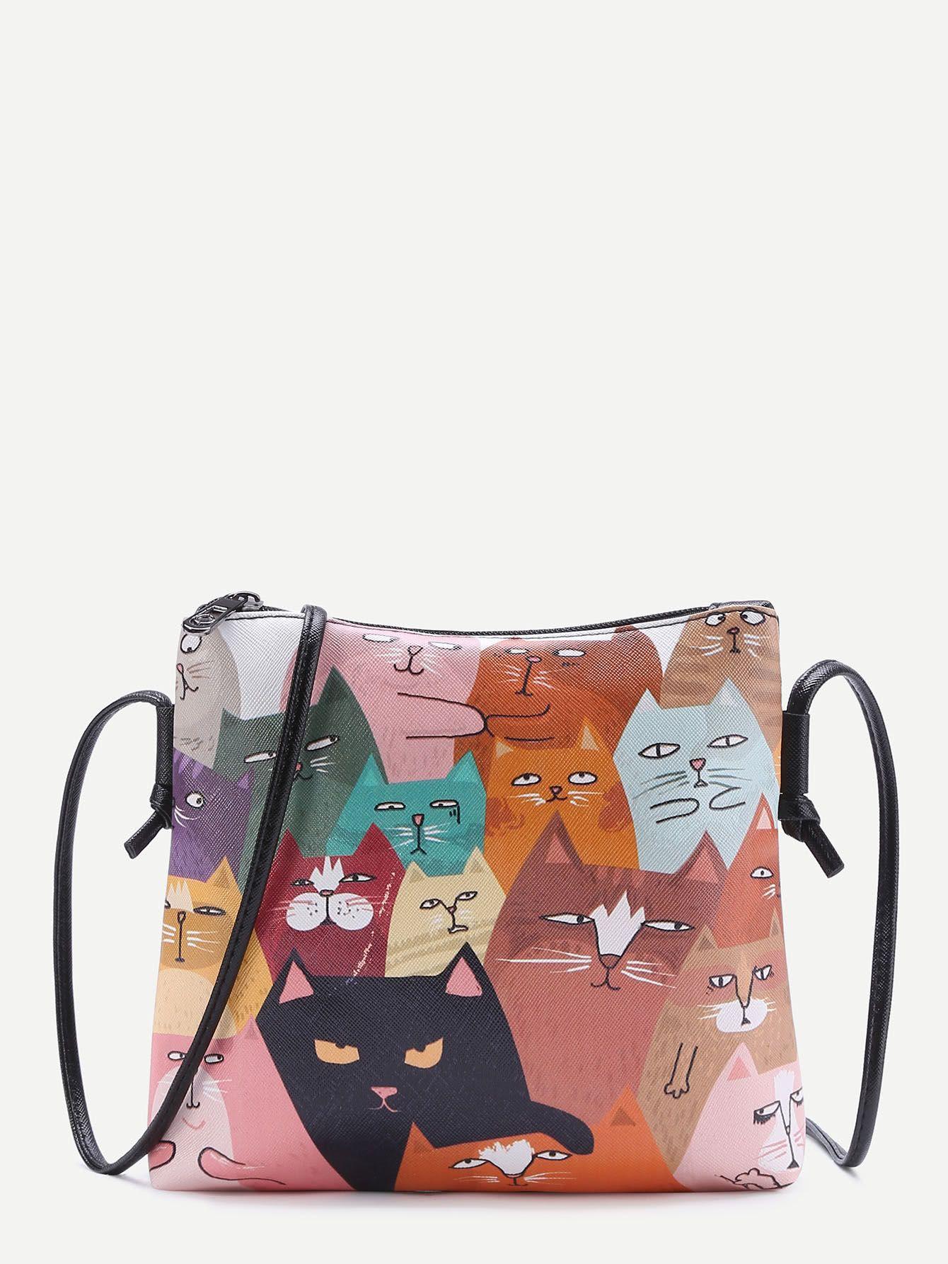 3338de1dc5 Cat Print Pocket Back PU Shoulder Bag | treat yo self | Pinterest ...