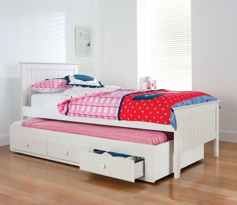 Alaska Bed Frame W Trundle White Bedroom Furniture Forty Winks Kids Bedroom Furniture Sets Platform Bedroom Sets Trundle Bed Kids