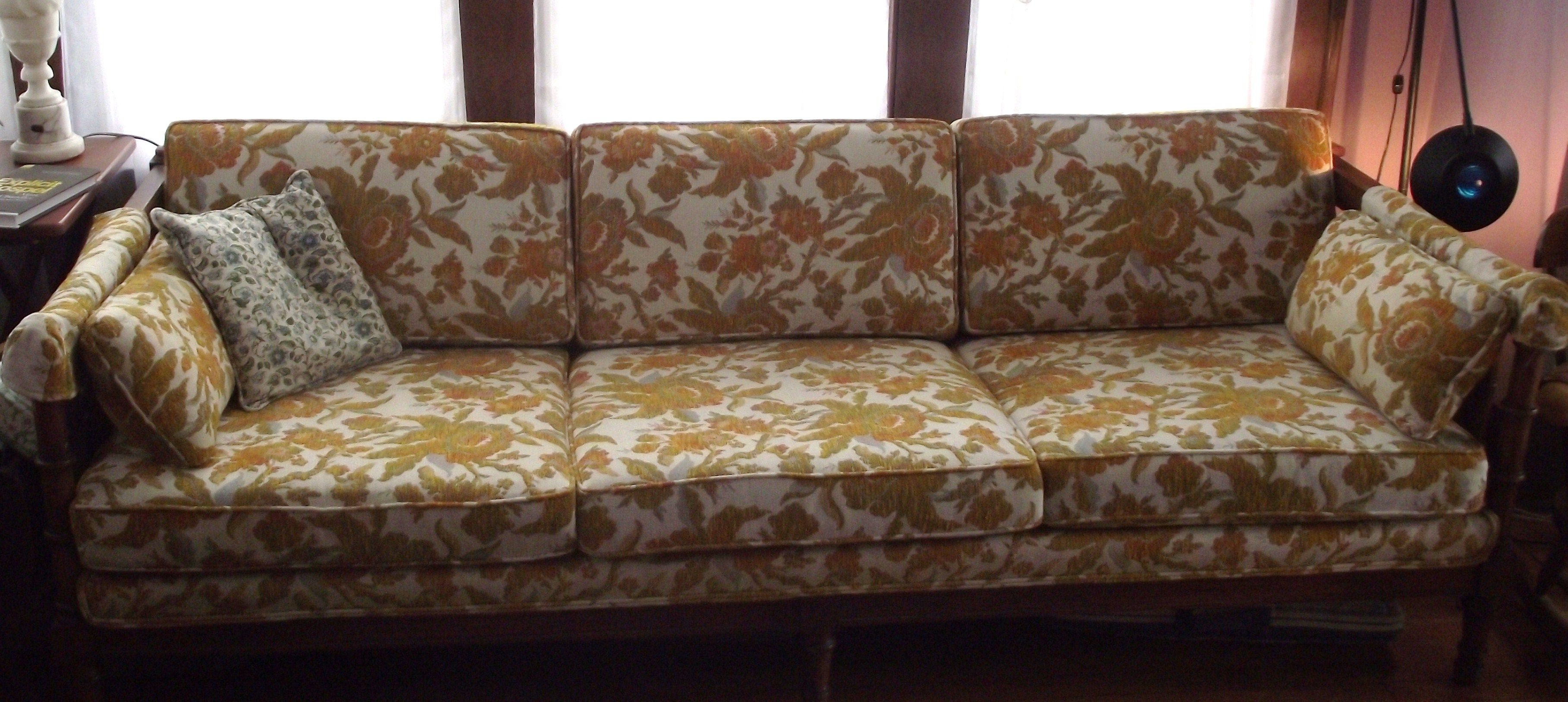 Tremendous Golden Yellow Floral Print Couch Low Profile And Wood Dailytribune Chair Design For Home Dailytribuneorg