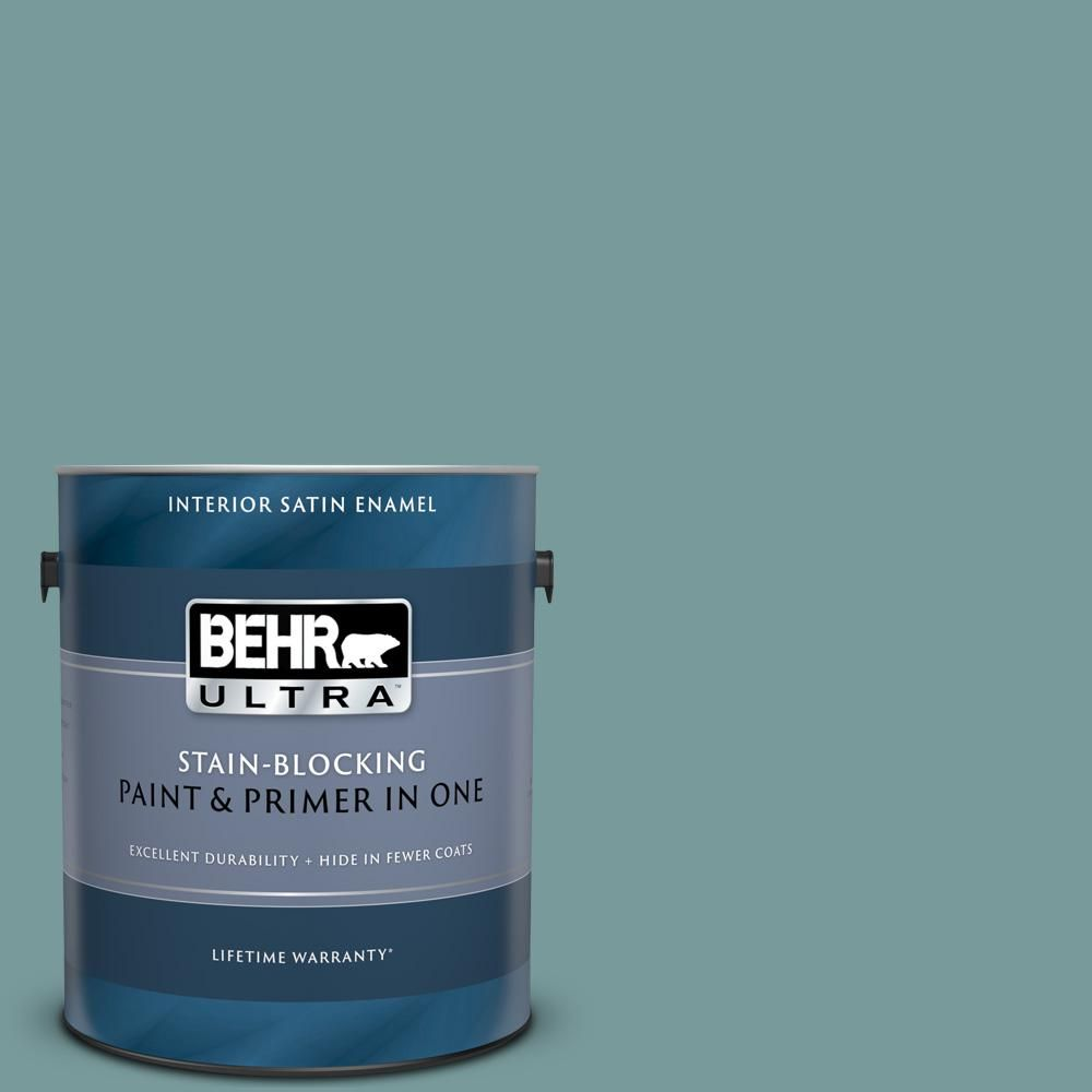 Behr Ultra 1 Gal Pmd 35 Blue Agave Extra Durable Satin Enamel Interior Paint Primer 775401 The Home Depot Behr Ultra Exterior Paint Behr Premium Plus Ultra