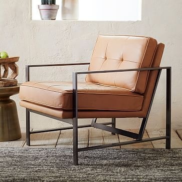Metal Frame Leather Chair Westelm 1299 Sale 1104 Quantity 4 33 W X Modern Furniture Living Room Accent Chairs For Living Room Living Room Chairs Modern