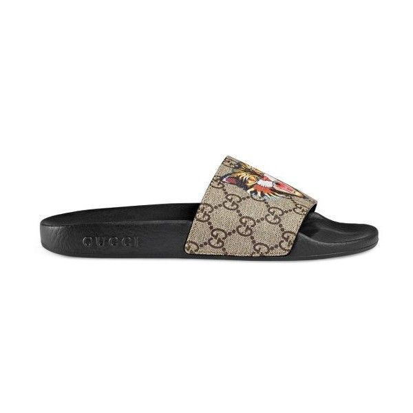 1ddb617f6055 Women s Gucci Pursuit Tiger Print Slide Sandal ( 320) ❤ liked on Polyvore  featuring shoes
