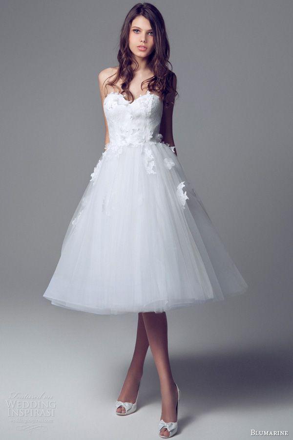 Blumarine Short Wedding Dresses 2017 Strapless Sweetheart Dress Lace Bodice Lique Tulle Skirt
