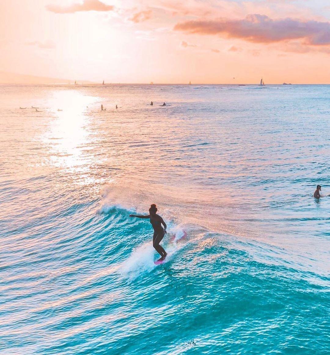 "Nique Miller | Surfer on Instagram: ""Sunsets at home 🌅 are the best @billabongwomens #creaturesofcolor . . . . . . . . #billabongwomens #goldenhourlight #surf_shots…"""