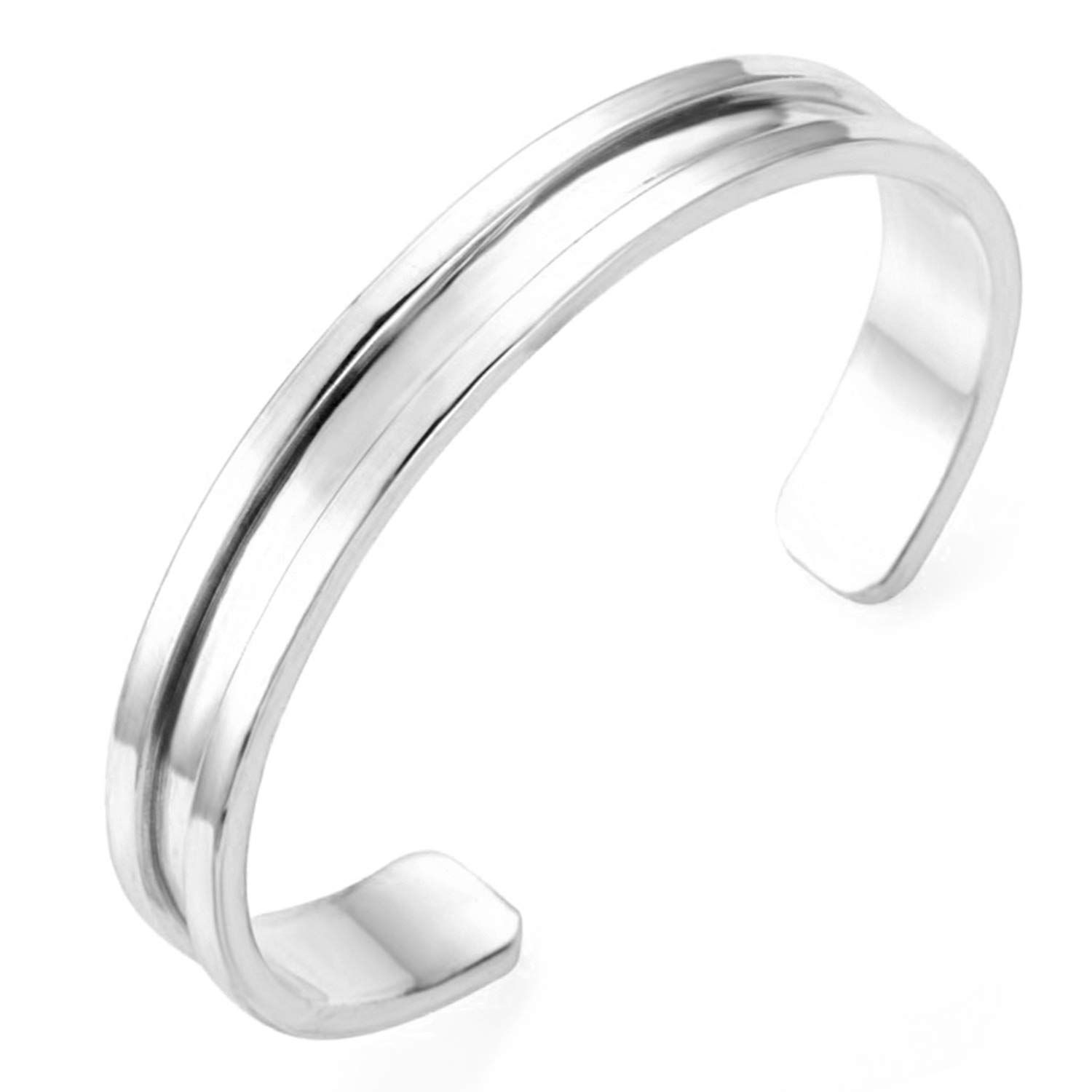 PANHAYO Stainless Steel Hair Tie Bracelet Deep Grooved Cuff Bangle Bracelet  for Women Men 3 Colors -- To view further for this item b89eebfd151