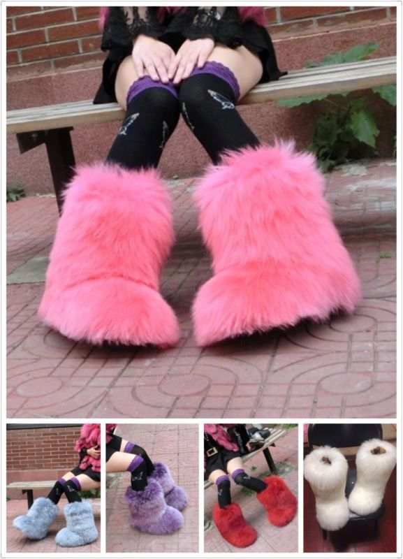 Fashion Eskimo Women Winter Big Fluffy Boots Sheep Fur