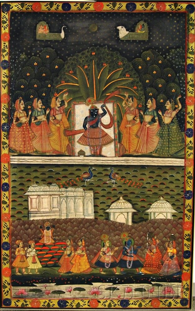 Large Pichwai Painting | Sale Number 2872T, Lot Number 1800 | Skinner  Auctioneers | Pichwai paintings, Madhubani painting, Indian art paintings
